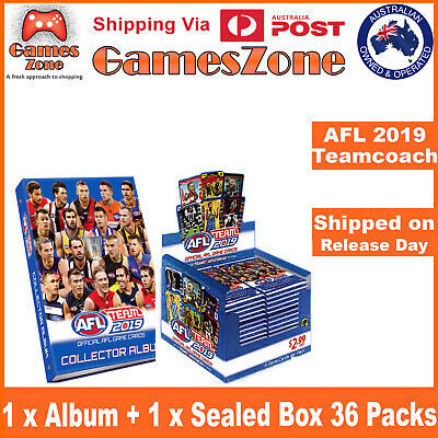 2019 AFL TEAMCOACH TEAM COACH TRADING CARDS FULL SEALED BOX + ALBUM In Stock