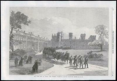 1869 Antique Print - MERSEYSIDE KNOWSLEY HOUSE FUNERAL PROCESSION EARL DERBY(134