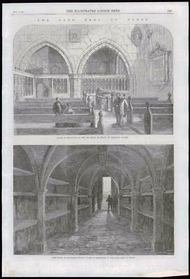 1869 Antique Print - LANCASHIRE ORMSKIRK KNOWSLEY CHURCH EARL DERBY (073)