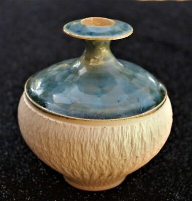 Peter Wallace Textured Crystalline Pottery Bottle Vase