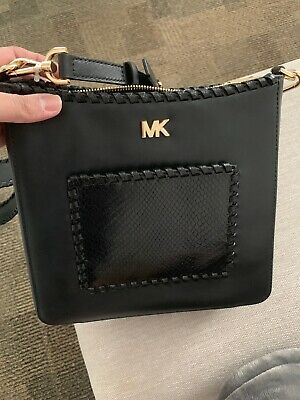 41c888939df4 MICHAEL KORS GLORIA Whipstitch Charcoal Leather Swing Pack Messenger ...