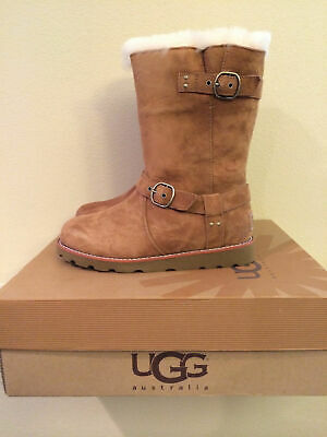2823f21d991 UGG NOIRA WATERPROOF SUEDE LEATHER MOTO STYLE BOOTS w/BUCKLES 7 ...