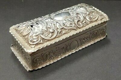 Antique 1891 Victorian Silver Trinket Box Jewellery Box Charles Henry Dumenil