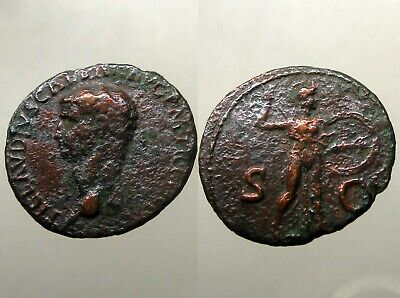 EMPEROR CLAUDIUS BRONZE AS____Minerva Holding Spear and Shield____ADOPTED NERO