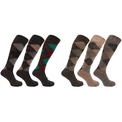 Mens Traditional Argyle Pattern Long Length Lambs Wool Blend Socks (MB277)