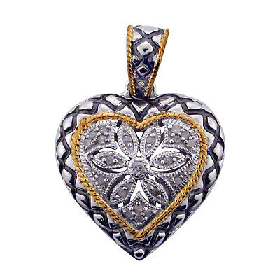 Diamond Two Tone Gold Plated Heart Pendant in Sterling Silver (0.11 cts, H-I I3)