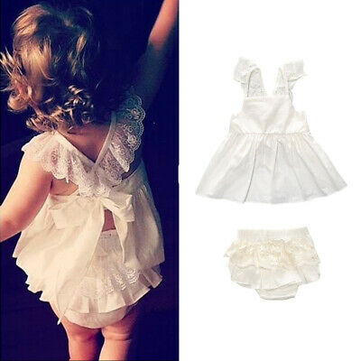 Toddler Baby Girls Tops Dress+Lace Shorts Pants Set Infant Kids Clothes Outfits