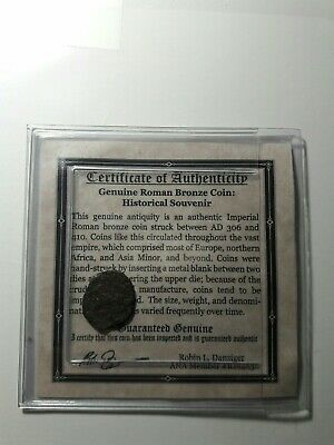 ROMAN BRONZE COIN Genuine Ancient Antique from 306-410 AD certificate included