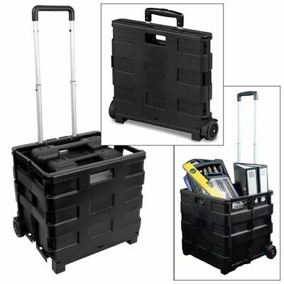 Large Folding Shopping Trolley Cart Fold Able Rolling Storage Box Car Boot 25Kg