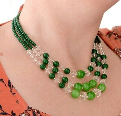 Vintage / Vtg Style Three strand Green & Clear Glass Bead Necklace