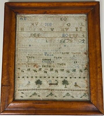 "Antique Georgian Sampler Mary Stead 1804. ""Pilgrims Progress song"" Maple frame"