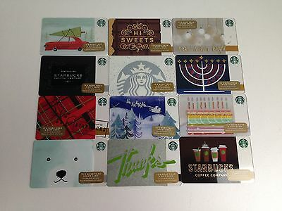 Lot of 12, STARBUCKS Gift Cards ☕️ ZERO $ BALANCE Holiday Collection 2016 (USA)