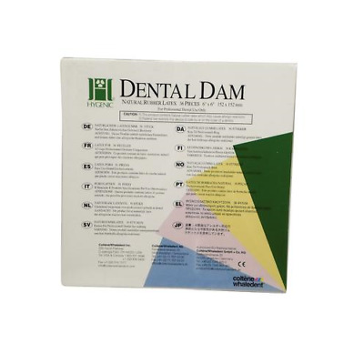 "Coltene Whaledent H00535 Hygenic Rubber Dental Dams 6"" x 6"" Heavy Light 36/Bx"