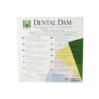 "Coltene Whaledent H04241 Hygenic Rubber Dental Dam 5"" x 5"" Medium Green 364/Bx"