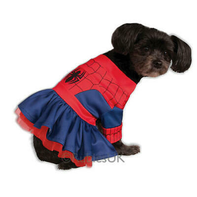 Pet Dog Spiderman Spidergirl Costume Rubies Fancy Dress Avengers Outfit S