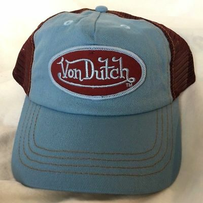 e2dbe296 Authentic Von Dutch Patch Light Blue Mesh Cap Hat Trucker Snap Back Brand  NEW