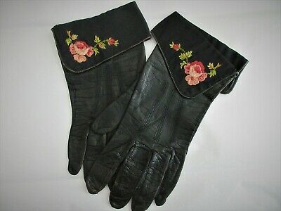 antique,KID leather FRENCH gloves with BEAUTIFUL EMBROIDERY DETAILS ON CUFF,WOW!