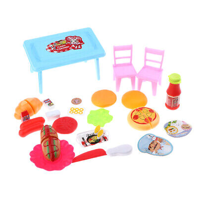 Wooden Furniture Dolls House Family Miniature Kitchen Food Kids Gift Toy