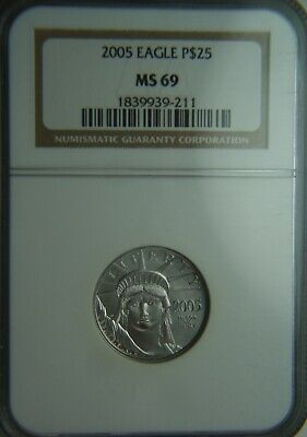 2005 Platinum American Eagle $25 1/4oz NGC MS69