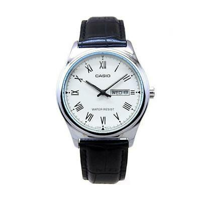 NEW Casio MTPV006L-7B Men's Analog SILVER-tone Watch BLACK Leather Band Day/Date