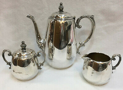 Silverplate Coffee Pot / Teapot Creamer & Sugar Bowl WM Rogers Vintage Lot 3