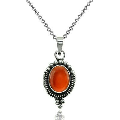 Oval Simulated Carnelian Oxidized Bali Bead Pendant Necklace in Sterling Silver