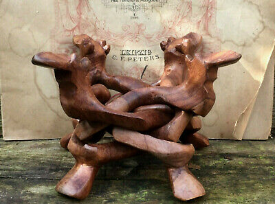 Vintage Good Quality Carved Wood Dragon Bowl Stand Made From One Piece Of Wood