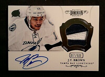 12-13 Panini Dominion J.T. Brown Rookie 7/60 Auto+Patch 2CLRs White and Blue