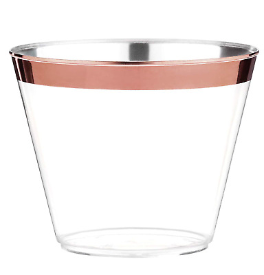 100 Rose Gold Plastic Cups - 9 Oz Disposable Gold Rimmed Plastic Tumblers For -