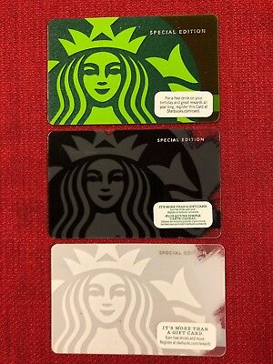 3 New Starbucks Special Edition Siren Gift Cards Lot 2010 2013 2014