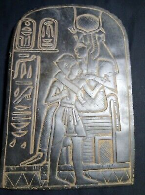 RARE ANCIENT EGYPTIAN ANTIQUE Stela Goddess Isis Nursing Boy Stone 1775 Bc