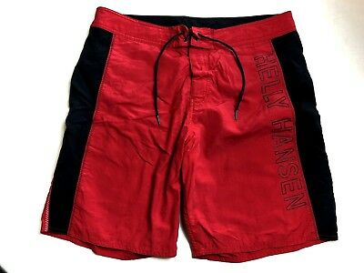2d86934548 Helly Hansen Mens sz 34 Swim Trunks Board Shorts Red Black Spell Out Mesh  Lined