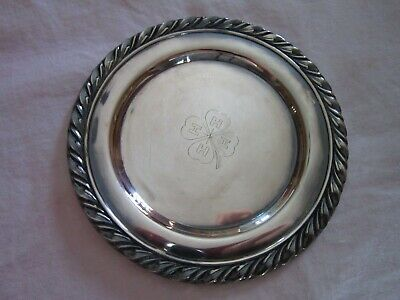 Vintage Oneida silver tray engraved with 4-H clover