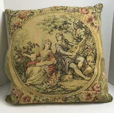 Antique Victorian Scene Tapestry Man Women Floral Accent Feather Pillow