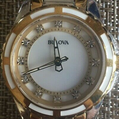 bd8c87985 BULOVA WOMEN'S 98P134 Quartz Diamond Accented Two-Tone Bracelet 28mm Watch  - $114.00 | PicClick