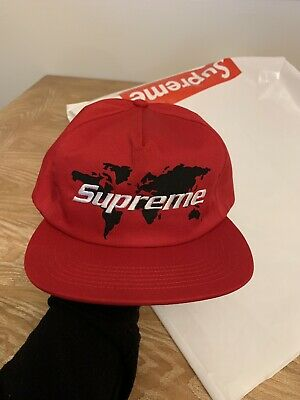 e2bf29c63 MENS SUPREME SS19 World black 5 Panel snapback hat cap one size (Red)(BRAND  NEW)