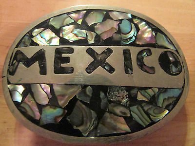 """Vintage Mexico Silver Tone Abalone Oval 3"""" x 2"""" Belt Buckle"""