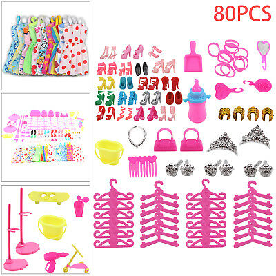 80Pcs ITEMS FOR BARBIE DOLL DRESSES, SHOES,JEWELLERY CLOTHES SET ACCESSORIES UK