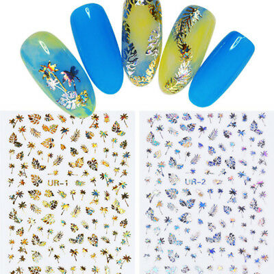 3D Nail Stickers Leaf Nail Transfer Decals Nail Art DIY Manicure Tips Decor
