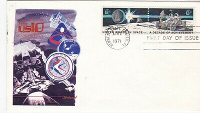 Space Achievements #1434-35 Us First Day Cover 1971 Fleetwood Cachet Fdc