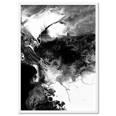 Black and White Abstract Print. Modern Monochrome Wall Art Living Room | ABA-15