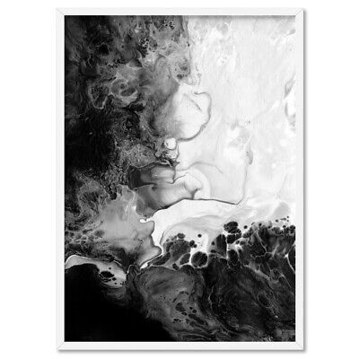 Abstract Print in Black and White. Liquid Fluid Wall Art. Modern Home | ABA-16