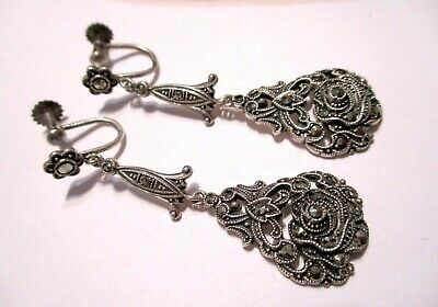 GERMAN Antique ART DECO Sterling Silver MARCASITE Pendant Drop ROSETTE EARRINGS