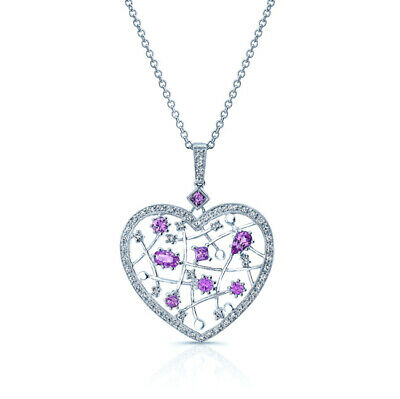 14k White Gold Pink Sapphire Diamond Heart Pendant Necklace 1.61 TCW Natural