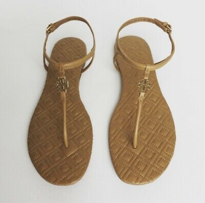 3000be92fa52 TORY BURCH BEIGE Marion Quilted Leather thong Sandals sz 10 ...