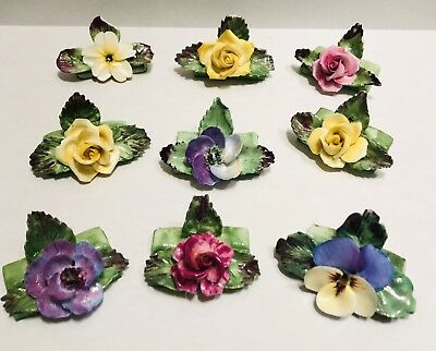 (9) Vintage Crown China Crafts Floral Bone China Place Card Name Holders England