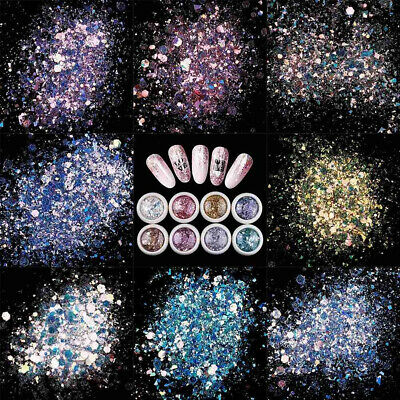 2g Mixed Nail Art Glitter Sequins Powder Dust for UV Gel Acrylic Decoration Tips