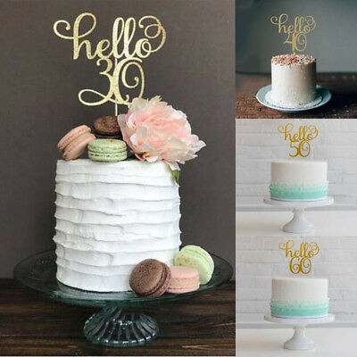 1Pc 30th/40/50/60 Gold Cake Topper Wedding/Happy Birthday/Party Cake Decoration