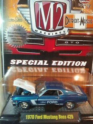 M2 Machines 1970 Ford Mustang Boss 429 Blue Chase 1 of 492 1/64 Die cast ToyCon