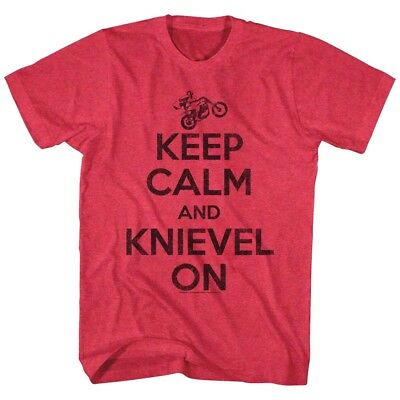 OFFICIAL Evel Knievel Keep Calm & Stunt On Men's T-Shirt Motorcycle Rider Biker